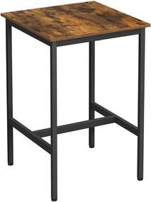 Szögletes magas bárasztal, étkezőasztal, rusztikus barna és fekete, 60 x 60 x 90 cm