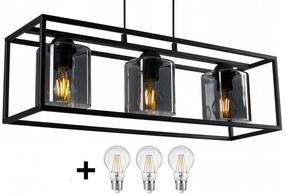 Glimex CAGE állítható függőlámpa fekete / füst 3x E27 + ajándék LED izzók