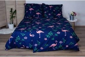 Flamingo sötétkék egyszemélyes pamut ágyneműhuzat, 140 x 200 cm - Cotton House
