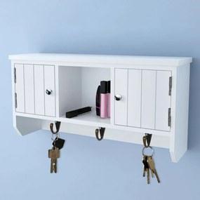 Fali ajtós kulcs- és ékszertartó szekrény akasztókkal