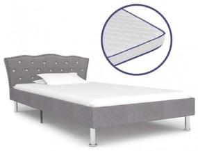Világosszürke szövetágy memóriahabos matraccal 90 x 200 cm