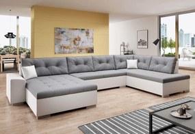 VERONA U alakú ülőgarnitúra, 344x81x163, malmo 90/fehér öko bőr, jobb