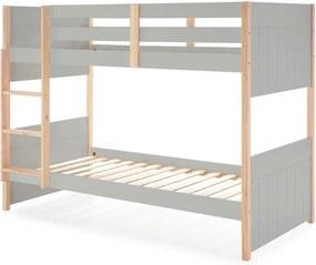 Kiara szürke gyerek emeletes ágy borovi fenyő lábakkal - Marckeric