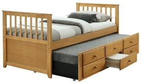 Ágy pótággyal, 90x200, tölgy,  AUSTIN NEW