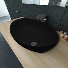 vidaXL Ovális, fekete kerámia mosdókagyló 40 x 33 cm
