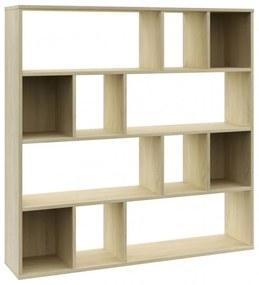 Tölgyszínű forgácslap térelválasztó|könyvszekrény 110x24x110 cm
