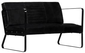 vidaXL fekete kétszemélyes valódi bőr kanapé