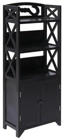 vidaXL fekete császárfa fürdőszobaszekrény 46 x 24 x 116 cm