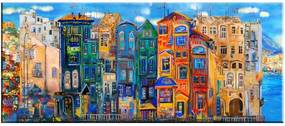 Colorful Houses kép, 140 x 60 cm - Tablo Center