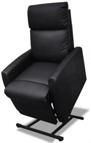 Fekete dönthető műbőr TV-fotel