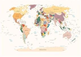 World Map nagyméretű tapéta, 300 x 210 cm - Bimago