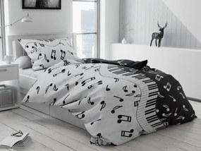 Písecké lůžkoviny Zongora fekete pamut ágyneműhuzat Ágynemű mérete: 70x90 cm, 140x200 cm