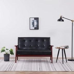 Kétszemélyes fekete műbőr kanapé