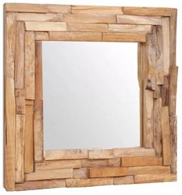 vidaXL dekoratív és kocka-alakú tükör tíkfából 60 x 60 cm