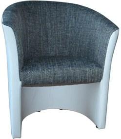 Klub fotel, fehér textilbőr / szürke szövet, CUBA