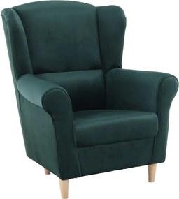 Fotel füles smaragd színü/fa CHARLOT