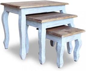 3-részes tömör újrahasznosított fa, egymásba tolható asztal