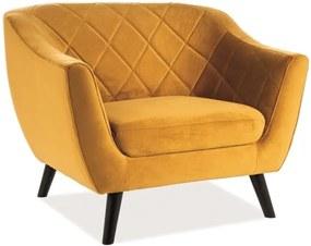 Relax fotel, mustár bársony / wenge, MOLLY 1 VELVET
