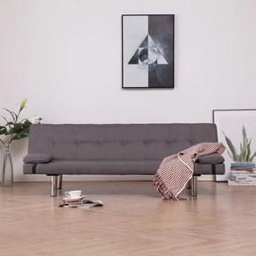 vidaXL szürkésbarna poliészter kanapéágy két párnával