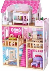 EcoToys Faház Residence II, rózsaszín + 2 babák ZA-4119
