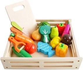 ISO Fából készült zöldség és gyümölcs 17 darab dobozban, 9430