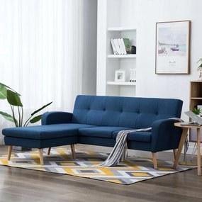 vidaXL L-alakú kék szövetkanapé 186 x 136 x 79 cm