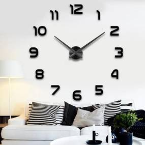 KIK Fal belső óra, öntapadós, fekete, KX7845