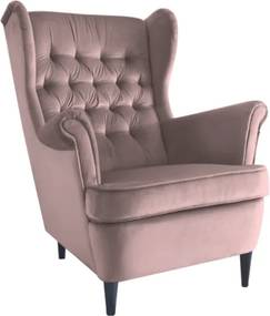 HARRY VELVET füles fotel, antik rózsaszín
