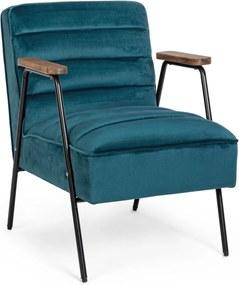 OCTAV kék bársony fotel