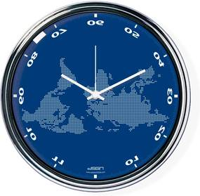 Fordított falióra világtérképpel 2 - kék, átmérő 32 cm | DSGN