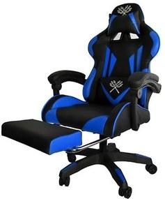 Gamer szék PRO, lábtartóval, kék színben