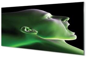 Akrilképek A fej ember zöld fény 140x70 cm
