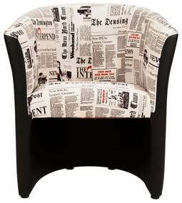 Fotel újság mintával, fekete - NEWSPAPER