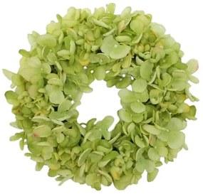 Hortenzia műkoszorú, zöld, átmérő: 24 cm
