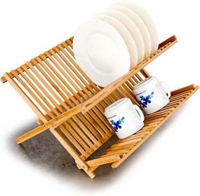 2 szintes összehajtható bambusz konyhai edényszárító