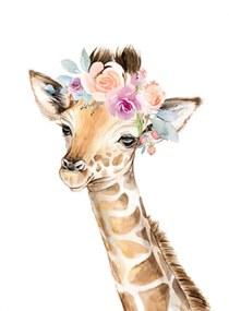 Gyerek festmény - Zsiráf virággal 50 x 40 cm