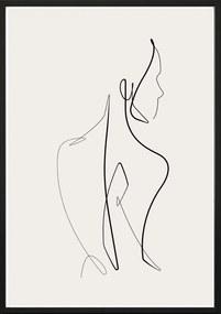 SKETCHLINE/NAKED keretezett fali kép, 50 x 70 cm
