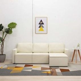 3 személyes krémszínű műbőr elemes kanapé