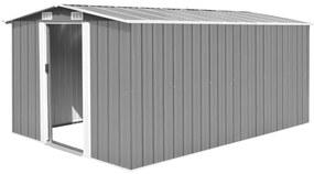 vidaXL szürke fém kerti fészer 257 x 392 x 181 cm