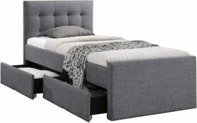 Modern ágy, szürke, 90x200, VISKA NEW