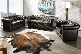 CHESTERFIELD 3 személyes sötét kávészínű kanapé